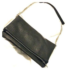 NWOT black fold over clutch with strap